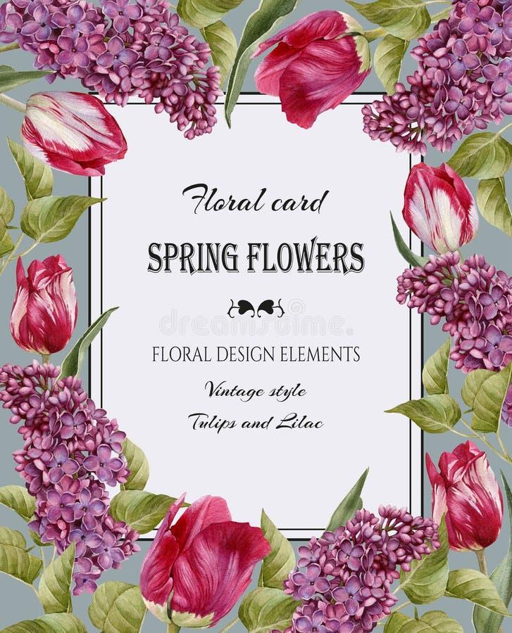 Bloemengroetkaart in uitstekende stijl royalty-vrije illustratie