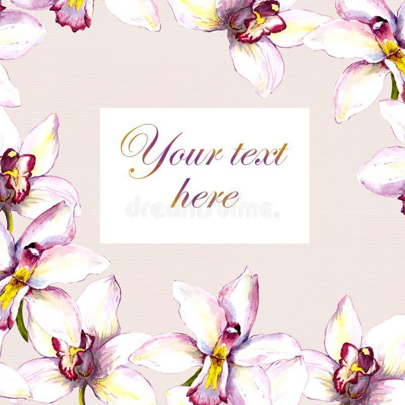 Bloemengroetkaart - witte orchideebloemen op beige document achtergrond Hand geschilderde waterverftekening royalty-vrije illustratie