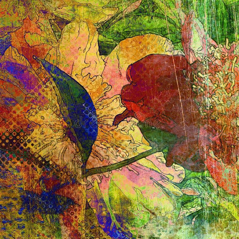 Bloemengrunge grafische achtergrond van de kunst royalty-vrije illustratie
