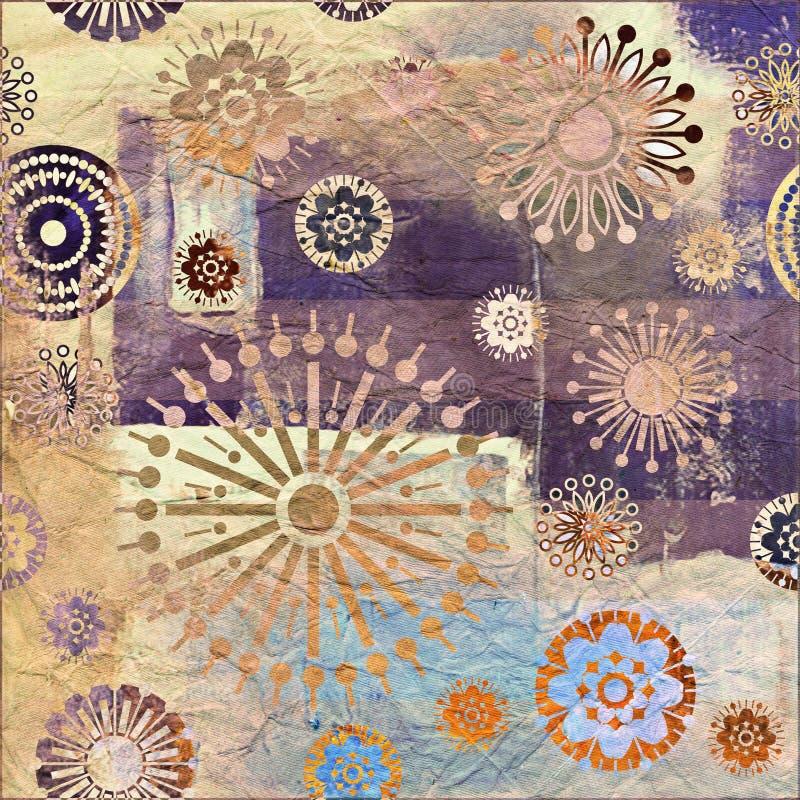 Bloemengrungeachtergrond van de kunst royalty-vrije illustratie
