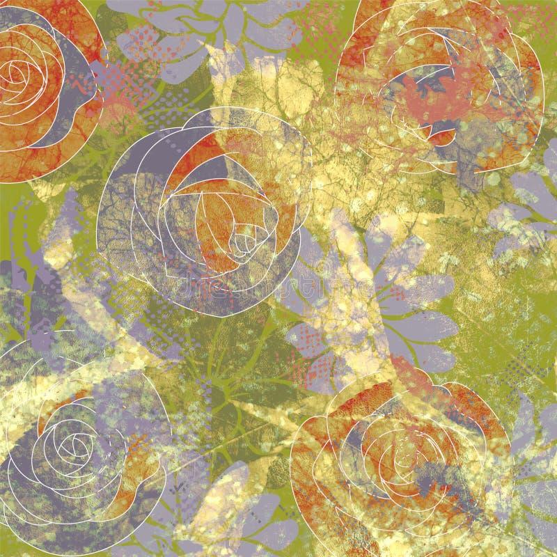 Bloemengrungeachtergrond van de kunst vector illustratie