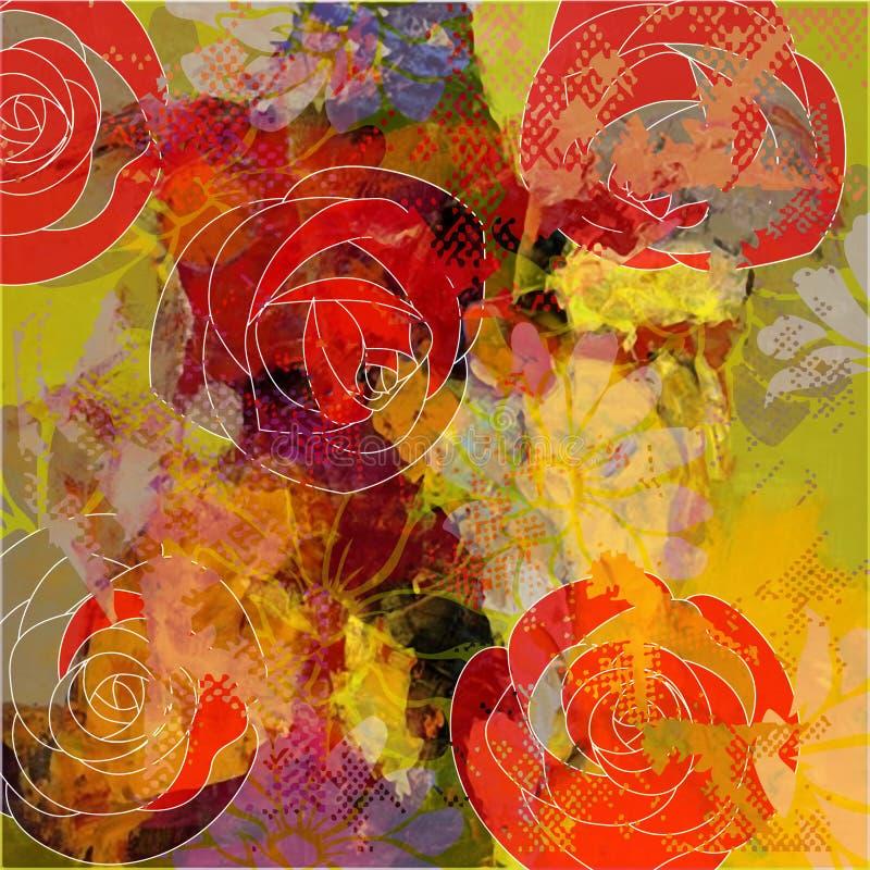 Bloemengrungeachtergrond van de kunst stock illustratie