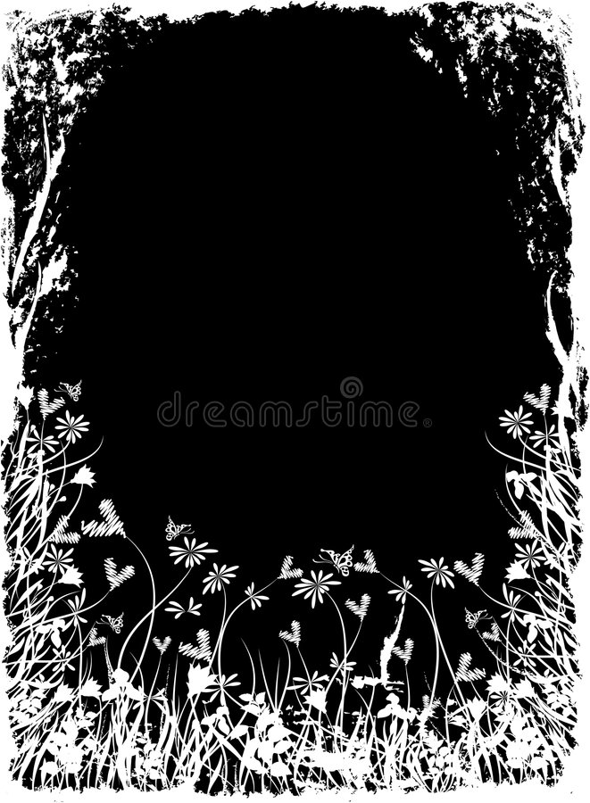 Bloemengrungeframe van de valentijnskaart, vector royalty-vrije illustratie
