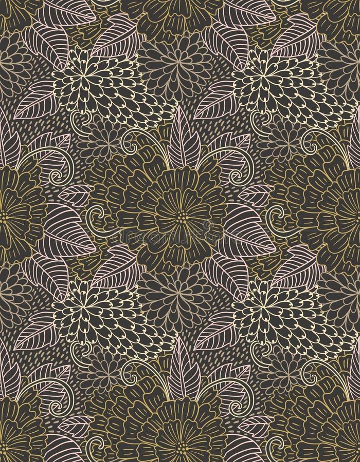 Bloemenhand getrokken zentangle naadloos patroon De achtergrond van krabbelbloemen vector illustratie