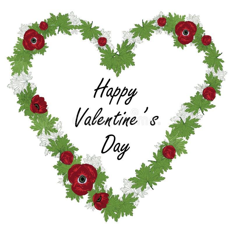 Bloemenhartkader met rode anemoon en groene bladeren Vector illustratie De dagkaart van Valentine royalty-vrije illustratie