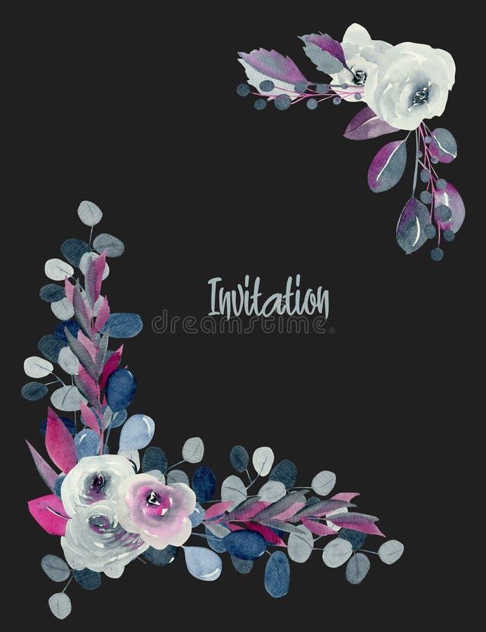Bloemenhoekgrenzen van waterverfindigo en karmozijnrode rozen en installaties royalty-vrije stock foto's