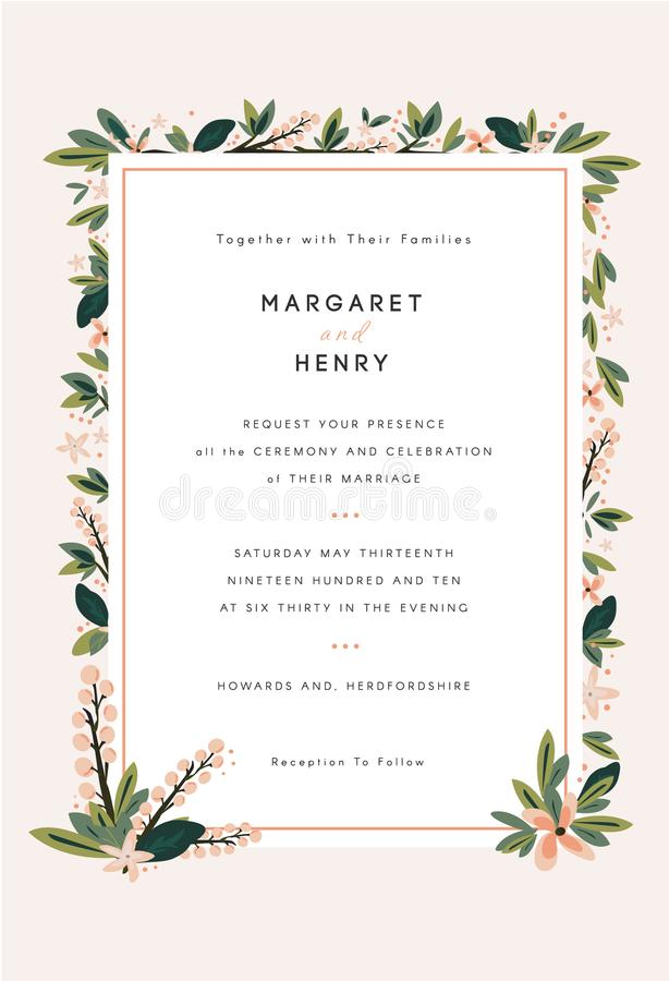 Bloemenhuwelijksuitnodiging stock illustratie