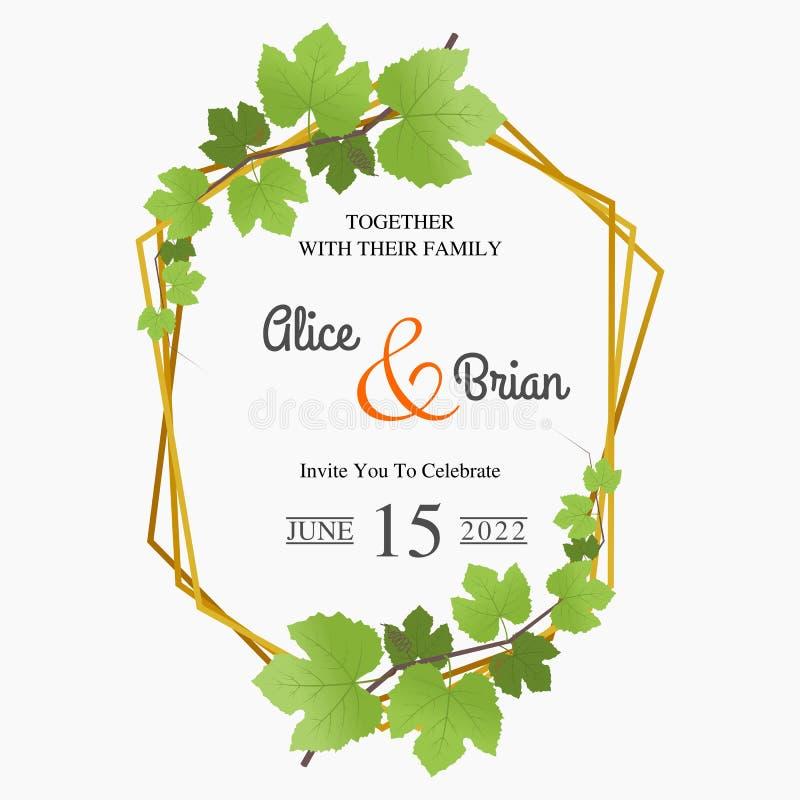 Bloemenhuwelijksuitnodiging en elegante huwelijksuitnodiging vector illustratie