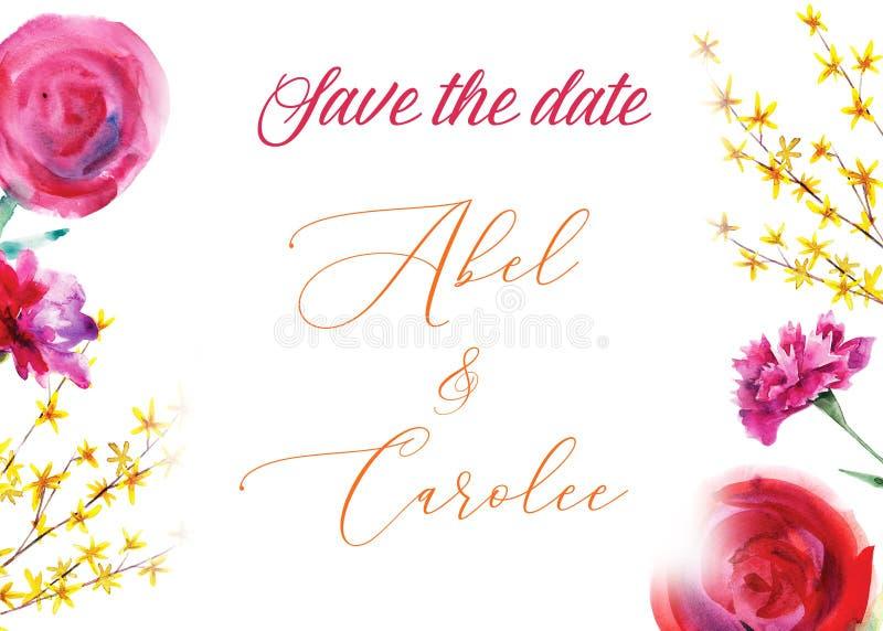 Bloemenhuwelijksuitnodiging, sparen de datum, de kaart van de valentijnskaartendag Waterverfhand getrokken illustratie Rode pioen stock illustratie