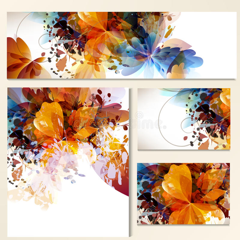 Bloemenidentiteitsmalplaatjes met abstract gebladerte voor ontwerp royalty-vrije illustratie