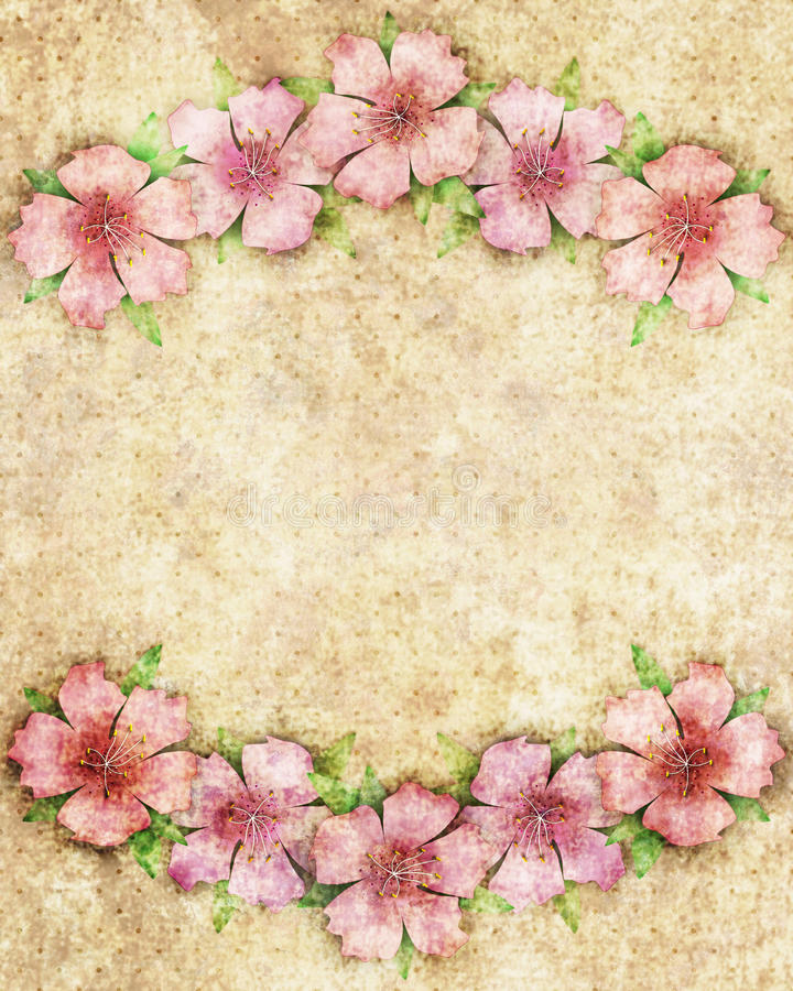 Bloemenillustratie als achtergrond met roze bloemen op grens van Fr vector illustratie