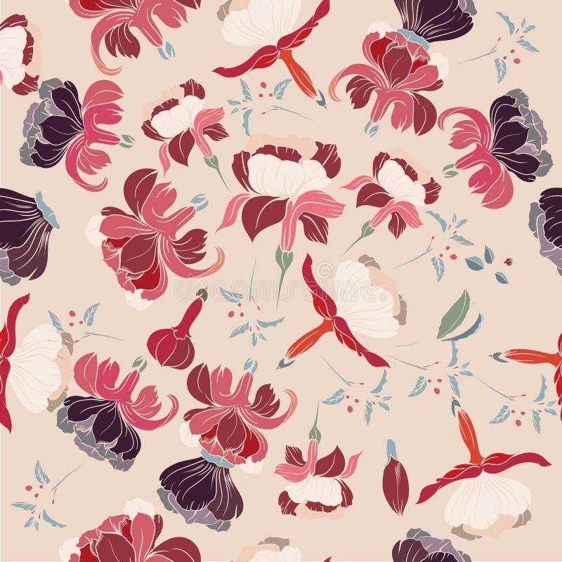 Bloemenillustratie met mooie hand getrokken bloemen in wijnoogst royalty-vrije illustratie