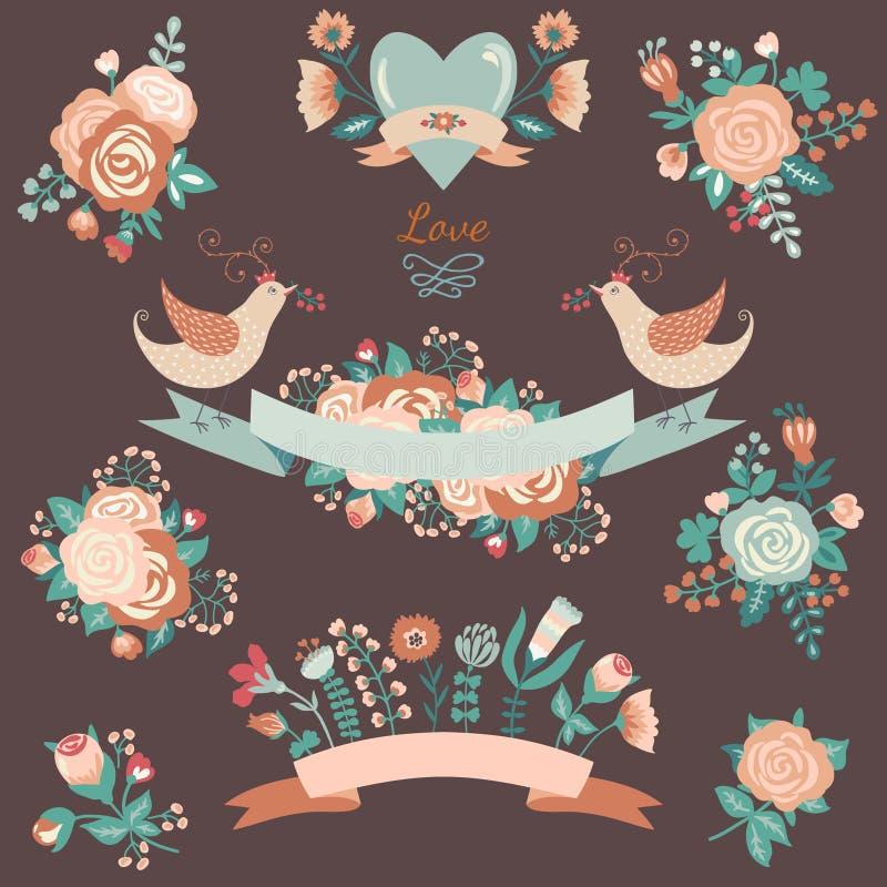 Bloemeninzameling met ontwerpelementen royalty-vrije illustratie