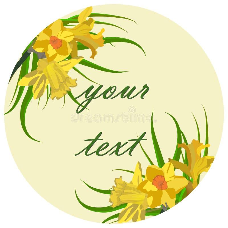 Bloemenkaart, narcissen Mooie de Lente Bloemenprentbriefkaar Als achtergrond royalty-vrije illustratie