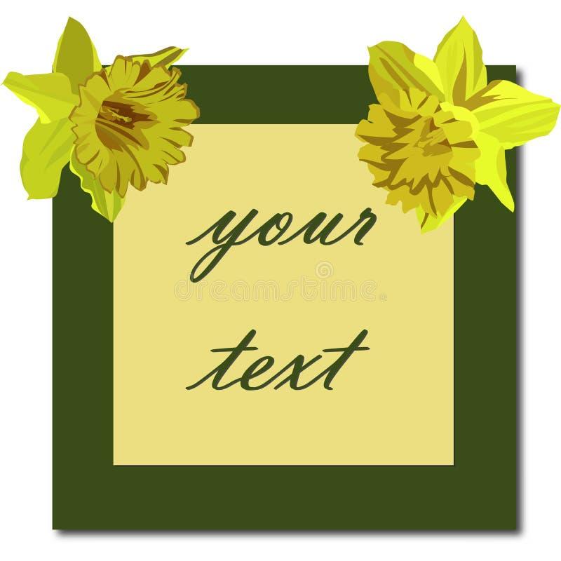 Bloemenkaart, narcissen Mooie de Lente Bloemenprentbriefkaar Als achtergrond vector illustratie