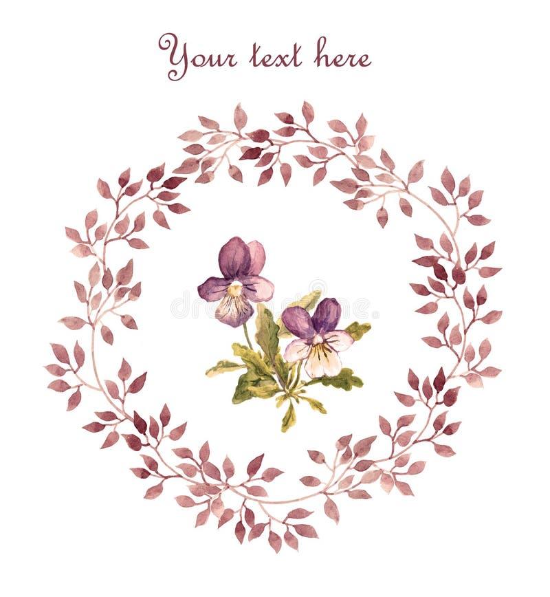 Bloemenkaart - violette viooltjebloem in bladerenkroon Geschilderde waterverf wijnoogst stock illustratie