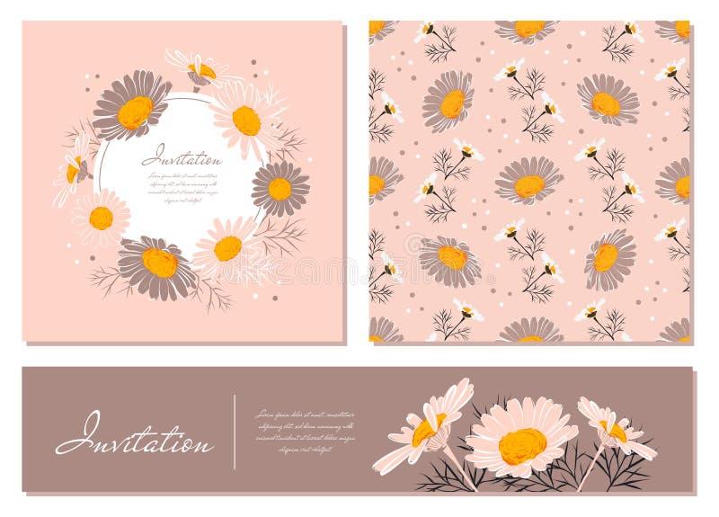Bloemenkaarten geplaatst Kamille achtergronddaisy kroon Bloemen en bladeren van madeliefjes op een zachte roze achtergrond Vector royalty-vrije illustratie