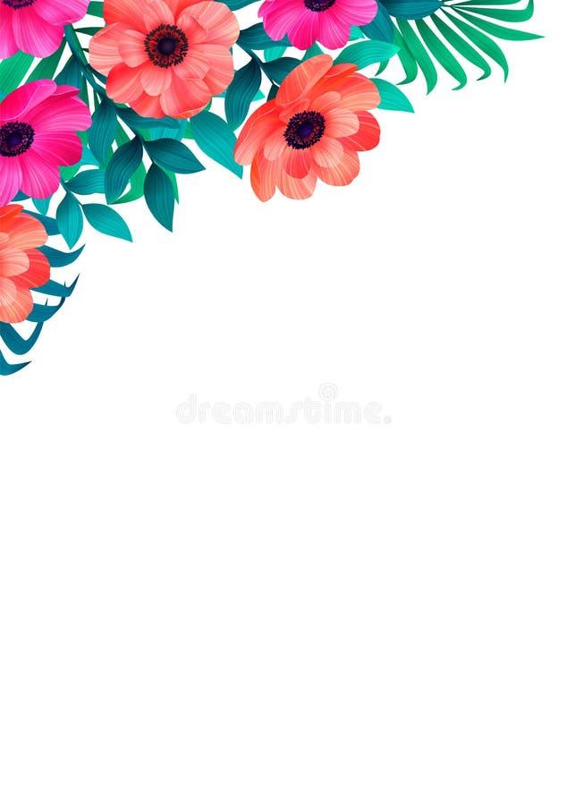 Bloemenkader, hoek in tropisch ontwerp Verticaal Ontwerp met mooie tropische bloemen en exemplaarruimte op wit royalty-vrije illustratie