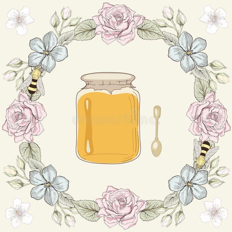 Bloemenkader, honingskruik en bijen stock illustratie