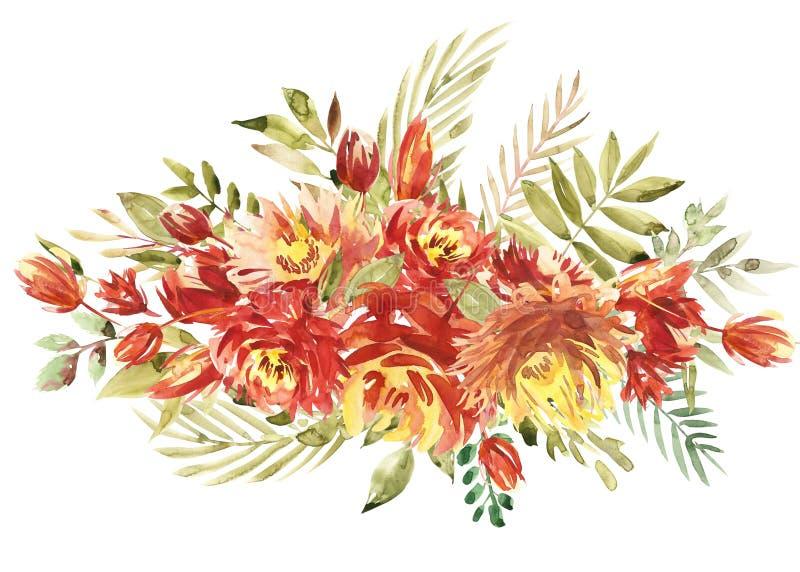 Bloemenkader met de zomerbloemen Bloemenboeket met roze en pioen Uitstekende groetkaart met bloemen watercolor royalty-vrije illustratie
