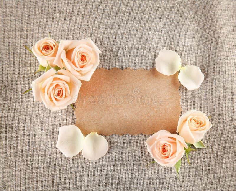 Bloemenkader met kaart stock foto's