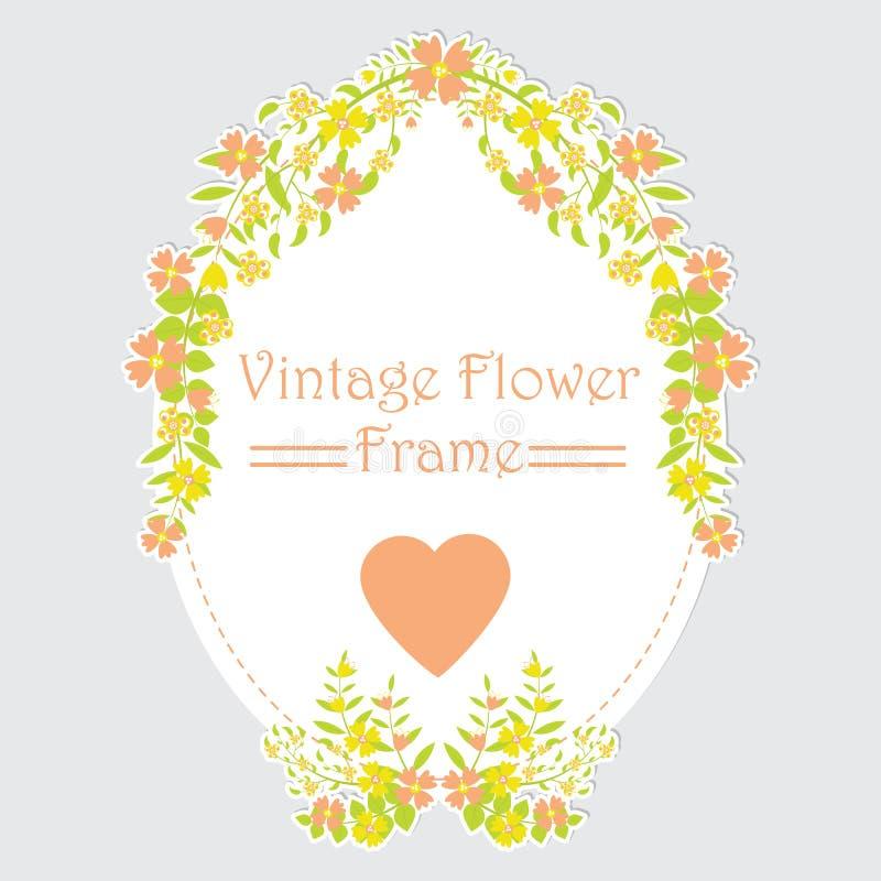 Bloemenkader met oranje en gele bloemkroon royalty-vrije illustratie