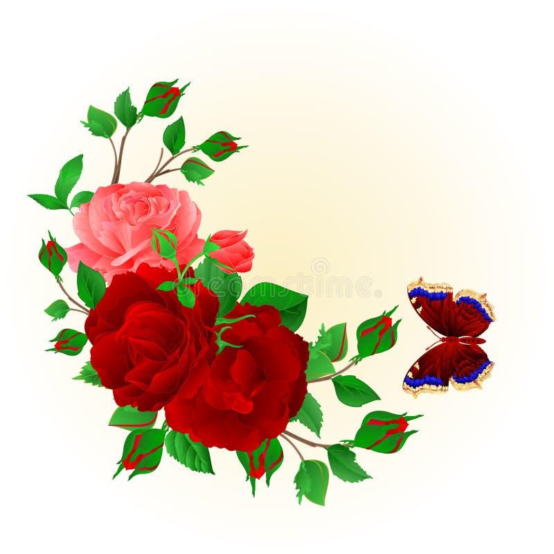 Bloemenkader met rode en roze Rozen en vlinder uitstekende feestelijke editable vectorillustratie als achtergrond vector illustratie