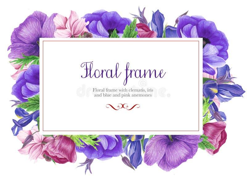 Bloemenkader met roze en blauwe anemonen, iris, clematissen en bladeren Het Schilderen van de waterverf stock illustratie