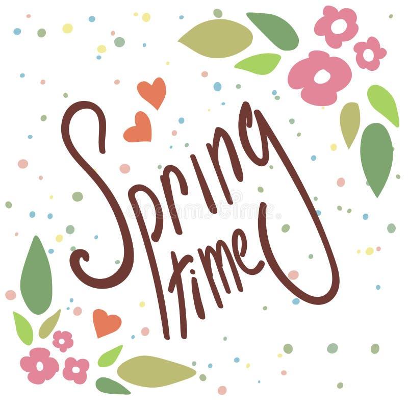 Bloemenkader met tekst De lentetijd die met hand getrokken bloemen verwoorden stock illustratie