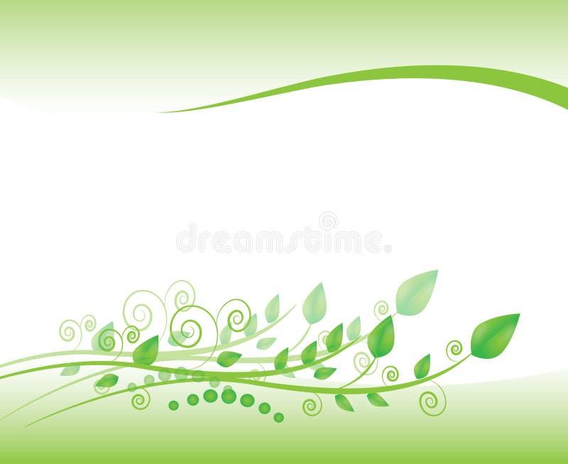 Bloemenkader met wervelingen en gebladerte in groen royalty-vrije illustratie