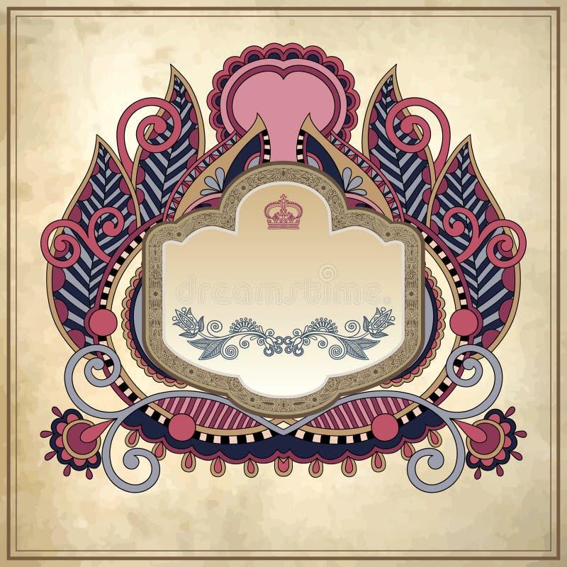 Bloemenkader op grungedocument achtergrond, pagina royalty-vrije illustratie