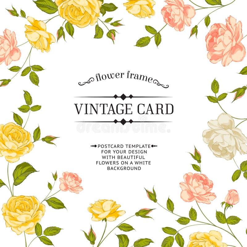 Bloemenkader perfect voor huwelijksuitnodigingen. royalty-vrije illustratie