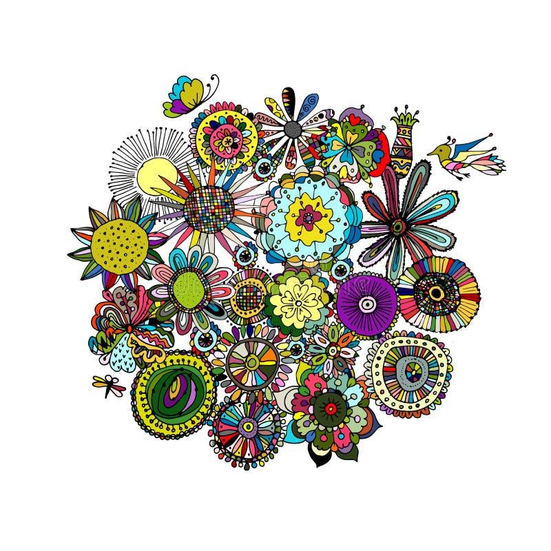 Bloemenkader, schets voor uw ontwerp royalty-vrije illustratie