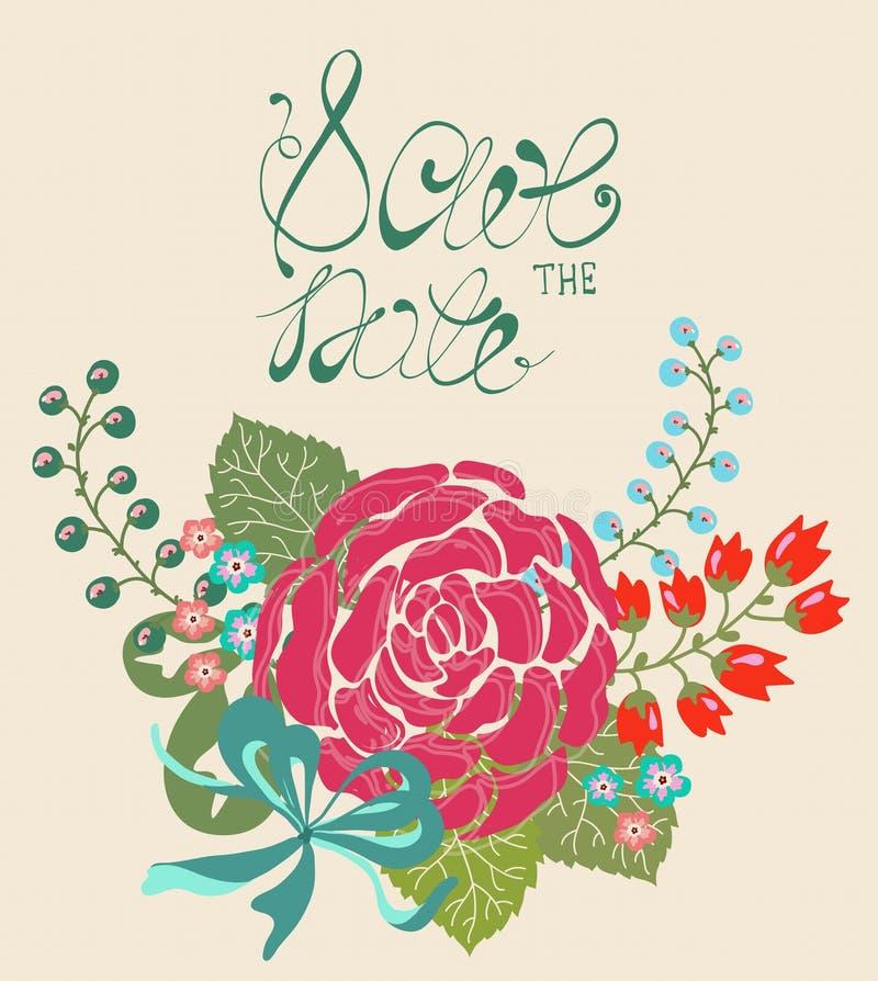 Bloemenkader voor het ontwerp van de huwelijksuitnodiging stock illustratie