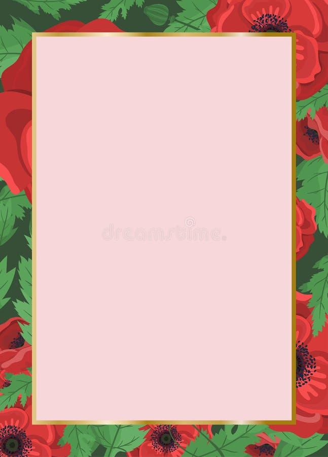 Bloemenkader voor huwelijksuitnodiging Poppy Flowers Vector ontwerpmalplaatje De kaart van de groet vakantie Rode papavers vector illustratie