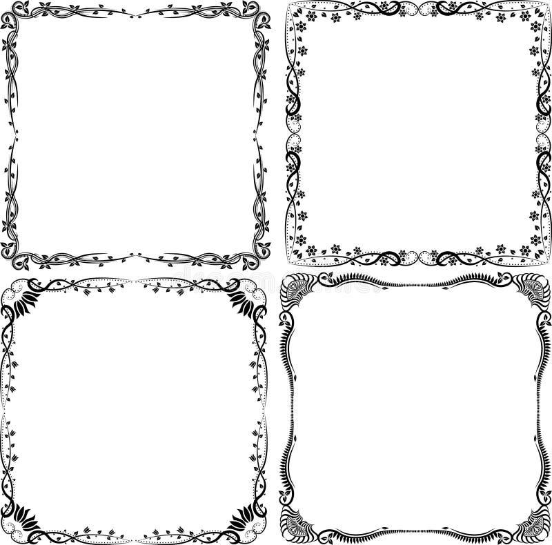 Bloemenkaders royalty-vrije illustratie