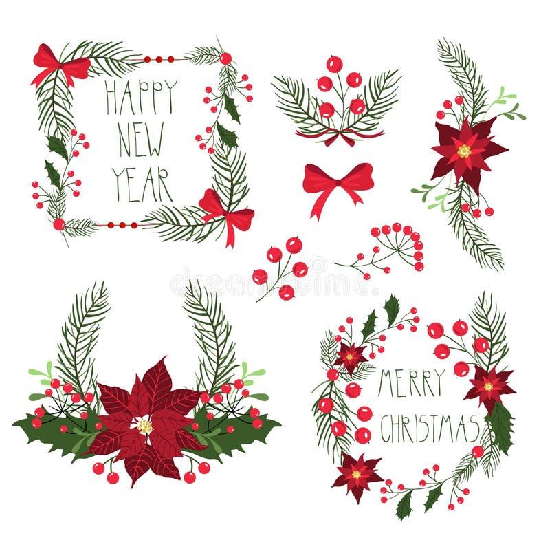 Bloemenkaders voor de kaarten van de Kerstmisvakantie met bloemen en bessen Vector illustratie vector illustratie