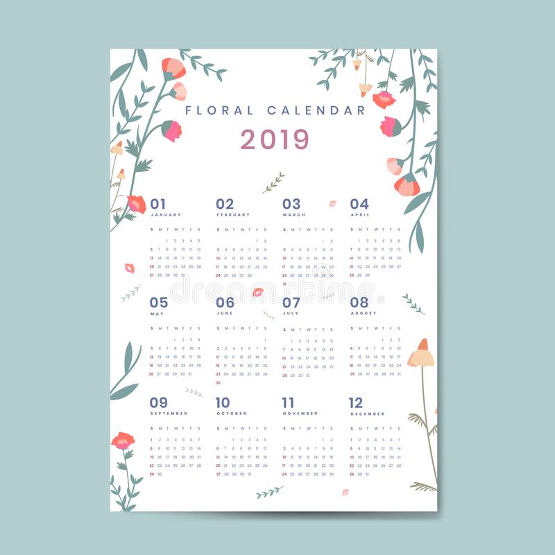 Bloemenkalender 2019 vectoraffiche stock illustratie