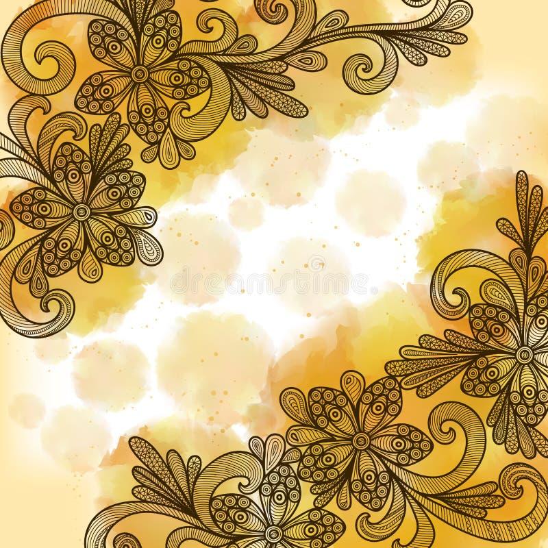 Bloemenkrabbels met waterverfachtergrond stock illustratie