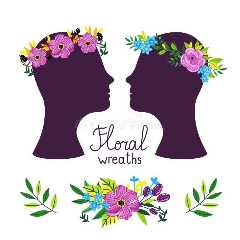 Bloemenkroon op de hoofden, vectorillustratie vector illustratie