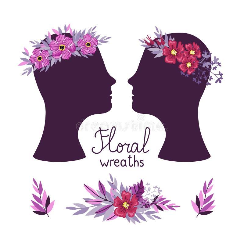 Bloemenkroon op de hoofden, vectorillustratie stock illustratie