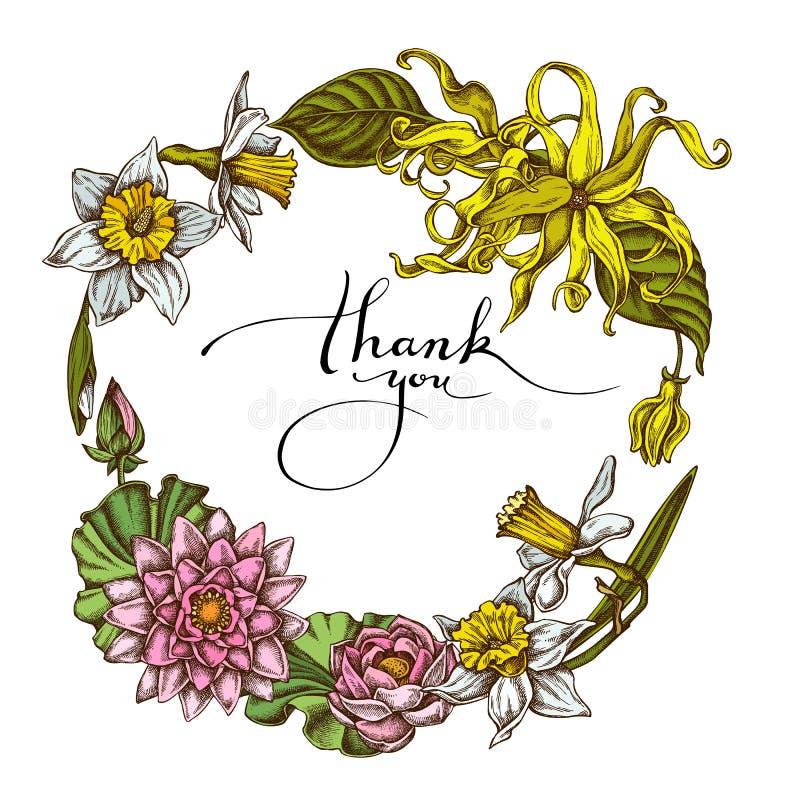 Bloemenkroon van gekleurde kananga-olie, gele narcis, lotusbloem vector illustratie