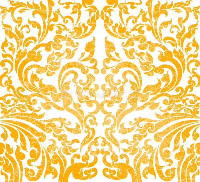 Bloemenkunst gouden kleur vector illustratie