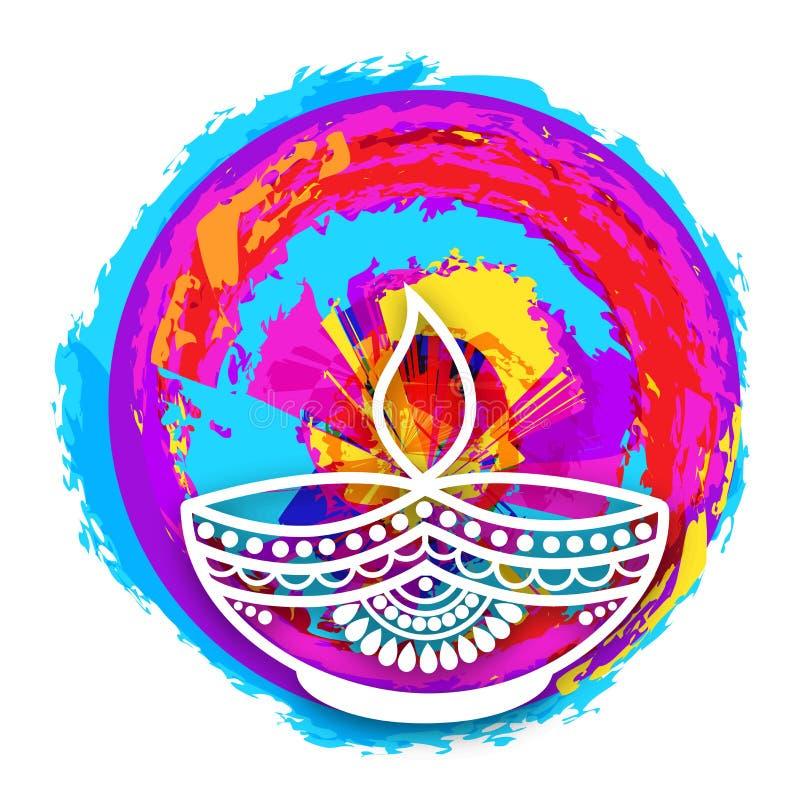 Bloemenlit-Lamp voor Gelukkige Diwali-viering vector illustratie