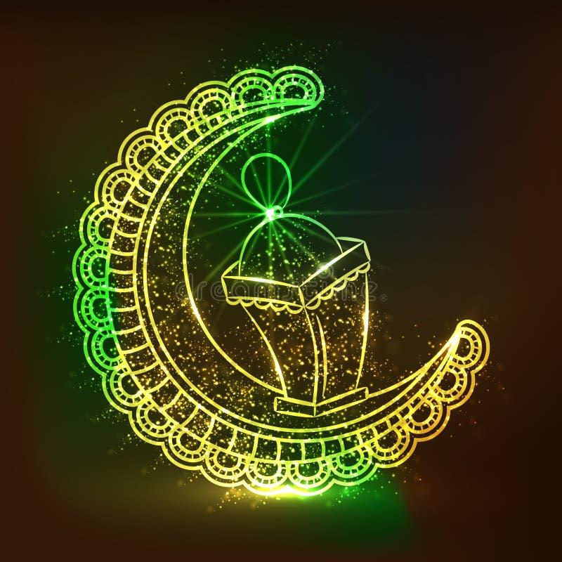 Bloemenmaan met Lamp voor Islamitische Festivallenviering royalty-vrije illustratie