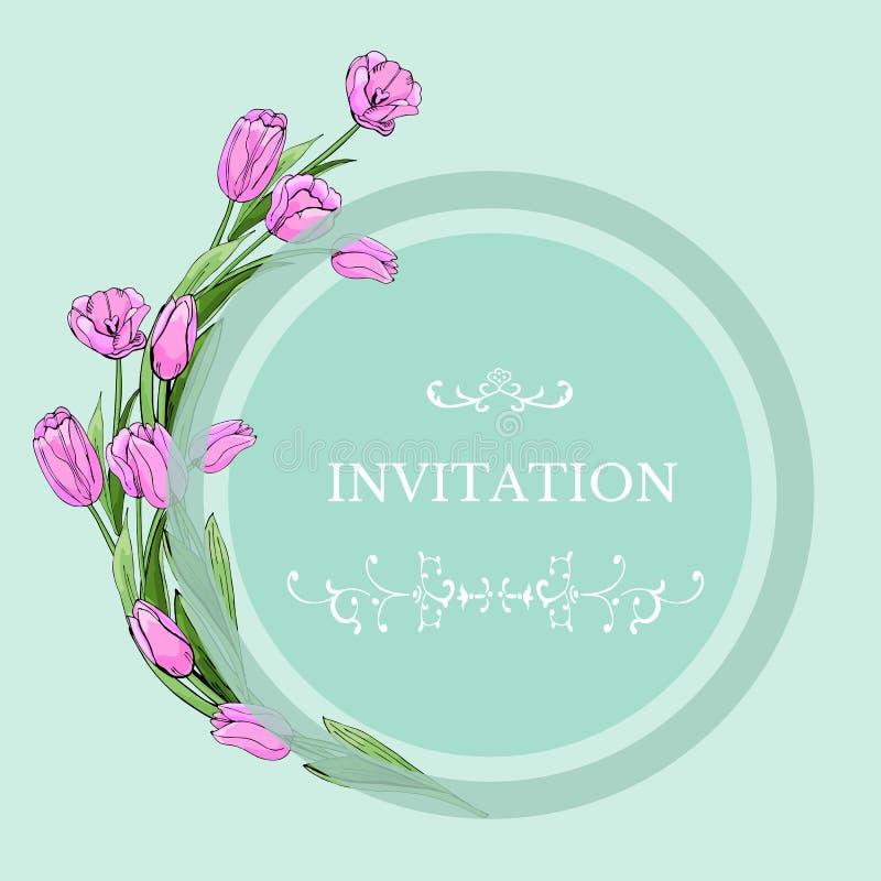Bloemenmalplaatje voor uitnodiging met cirkel en roze tulpenbloemen Hand getrokken schets op lichtgroene achtergrond stock illustratie