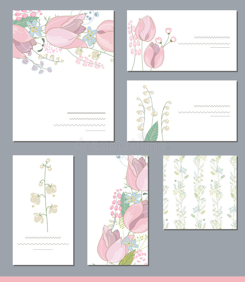 Bloemenmalplaatjes met leuke bossen van roze tulpen en wilde bloemen stock illustratie