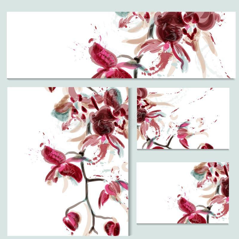 Bloemenmalplaatjes of uitnodiging met orchideebloemen royalty-vrije illustratie