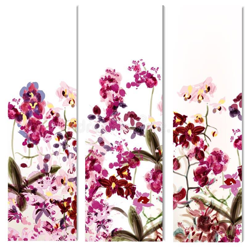 Bloemenmalplaatjes of uitnodiging met orchideebloemen stock illustratie