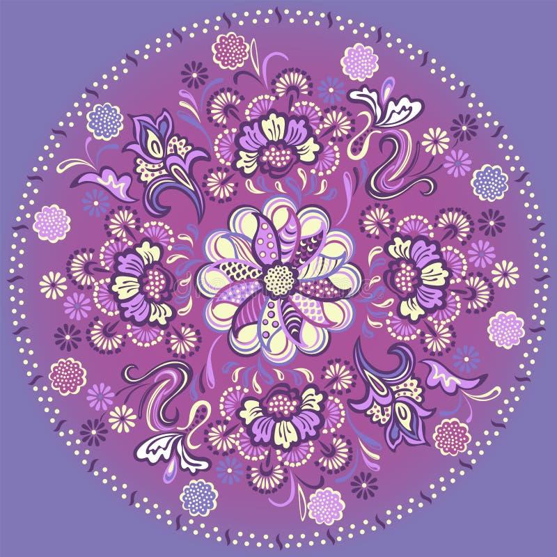 Bloemenmandala met decoratief ornament stock illustratie